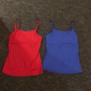 Red and blue tank tops